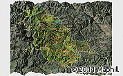 Satellite Panoramic Map of Ninglang, semi-desaturated