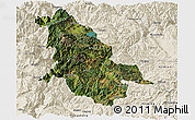Satellite Panoramic Map of Ninglang, shaded relief outside