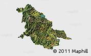 Satellite Panoramic Map of Ninglang, single color outside