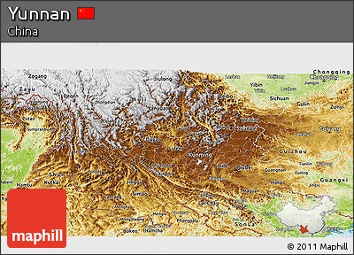 Physical Panoramic Map of Yunnan