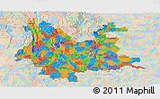Political Panoramic Map of Yunnan, lighten
