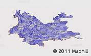 Political Shades Panoramic Map of Yunnan, cropped outside
