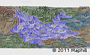 Political Shades Panoramic Map of Yunnan, darken, semi-desaturated