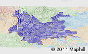 Political Shades Panoramic Map of Yunnan, lighten