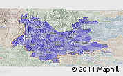 Political Shades Panoramic Map of Yunnan, lighten, semi-desaturated