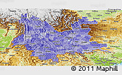 Political Shades Panoramic Map of Yunnan, physical outside