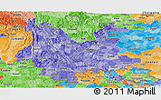 Political Shades Panoramic Map of Yunnan