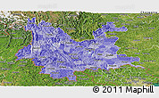 Political Shades Panoramic Map of Yunnan, satellite outside