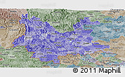 Political Shades Panoramic Map of Yunnan, semi-desaturated