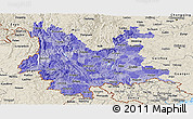 Political Shades Panoramic Map of Yunnan, shaded relief outside