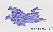 Political Shades Panoramic Map of Yunnan, single color outside