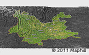 Satellite Panoramic Map of Yunnan, darken, desaturated