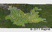 Satellite Panoramic Map of Yunnan, darken