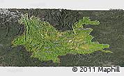 Satellite Panoramic Map of Yunnan, darken, semi-desaturated