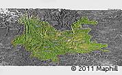 Satellite Panoramic Map of Yunnan, desaturated