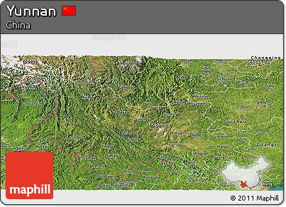 Satellite Panoramic Map of Yunnan