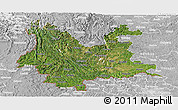 Satellite Panoramic Map of Yunnan, lighten, desaturated