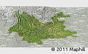 Satellite Panoramic Map of Yunnan, lighten, semi-desaturated