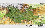 Satellite Panoramic Map of Yunnan, physical outside