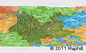 Satellite Panoramic Map of Yunnan, political shades outside