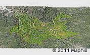 Satellite Panoramic Map of Yunnan, semi-desaturated