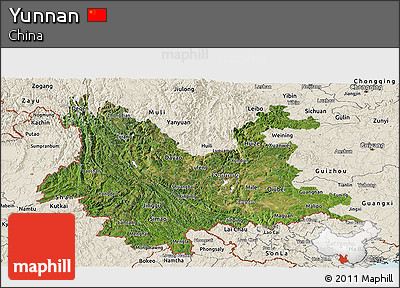 Satellite Panoramic Map of Yunnan, shaded relief outside