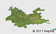 Satellite Panoramic Map of Yunnan, single color outside