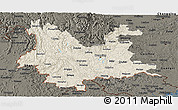 Shaded Relief Panoramic Map of Yunnan, darken