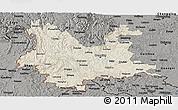 Shaded Relief Panoramic Map of Yunnan, darken, semi-desaturated