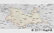 Shaded Relief Panoramic Map of Yunnan, desaturated