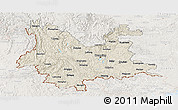 Shaded Relief Panoramic Map of Yunnan, lighten