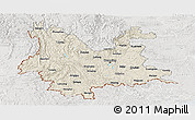 Shaded Relief Panoramic Map of Yunnan, lighten, semi-desaturated