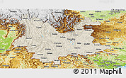 Shaded Relief Panoramic Map of Yunnan, physical outside