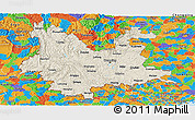 Shaded Relief Panoramic Map of Yunnan, political outside