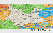 Shaded Relief Panoramic Map of Yunnan, political shades outside
