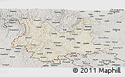 Shaded Relief Panoramic Map of Yunnan, semi-desaturated