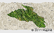 Satellite Panoramic Map of Puer, shaded relief outside
