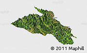 Satellite Panoramic Map of Puer, single color outside