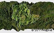 Satellite Panoramic Map of Qiaojia, darken