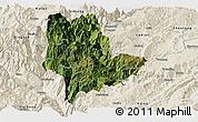Satellite Panoramic Map of Qiaojia, shaded relief outside