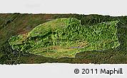 Satellite Panoramic Map of Qiubei, darken
