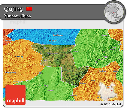 Free Satellite D Map Of Qujing Political Outside - Qujing map