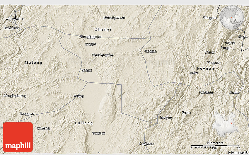 Shaded Relief D Map Of Qujing - Qujing map