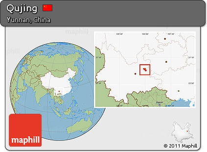 Free Savanna Style Location Map Of Qujing Highlighted Country - Qujing map