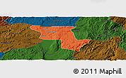 Political Panoramic Map of Qujing, darken