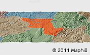 Political Panoramic Map of Qujing, semi-desaturated