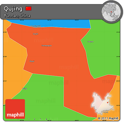 Free Political Simple Map Of Qujing - Qujing map