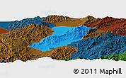 Political Panoramic Map of Ruili, darken