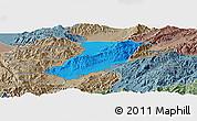 Political Panoramic Map of Ruili, semi-desaturated