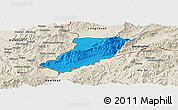 Political Panoramic Map of Ruili, shaded relief outside